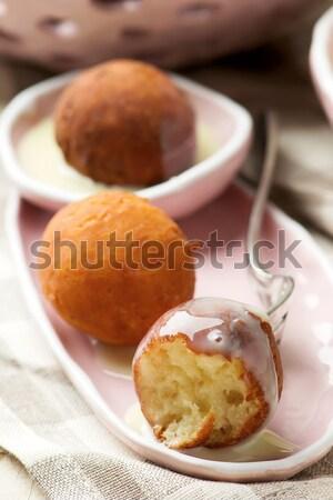 яблоки пирог полумесяц шоколадом хлеб Сток-фото © zoryanchik