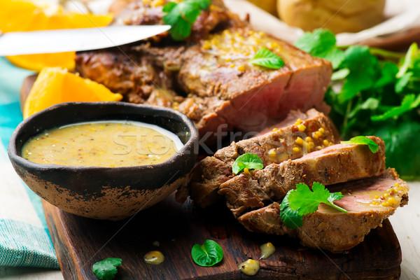 Marinato carne di maiale rustico bbq pasto taglio Foto d'archivio © zoryanchik