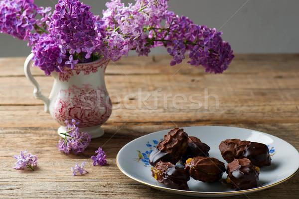шоколадом сэндвич Cookies Sweet Cookie Сток-фото © zoryanchik