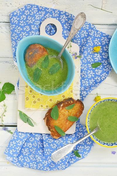 Taze fasulye yeşil soğan krem çorba tost ekmek Stok fotoğraf © zoryanchik