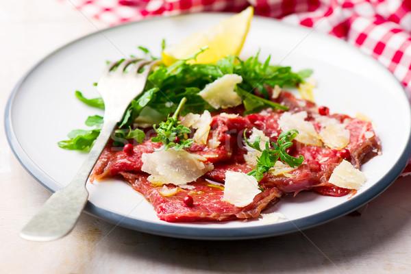 Stock fotó: Borjúhús · hagyományos · olasz · szelektív · fókusz · zöld · saláta