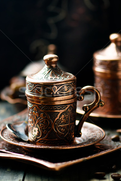 Kaffee Metall Türkisch traditionellen Tassen selektiven Fokus Stock foto © zoryanchik