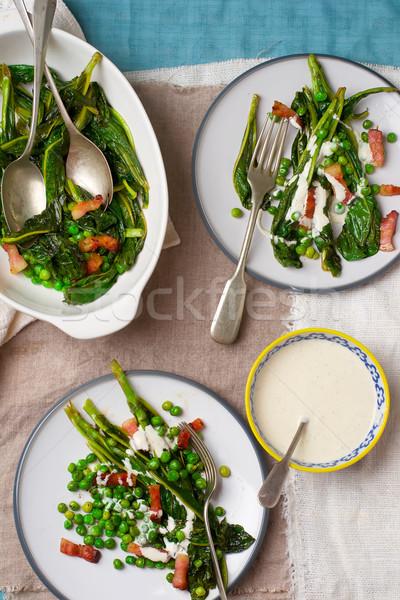 Салат зеленый горох бекон майонез Сток-фото © zoryanchik