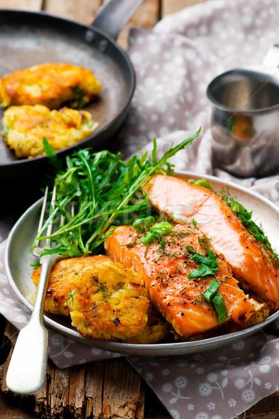Dill Salmon with Potato Patties Stock photo © zoryanchik