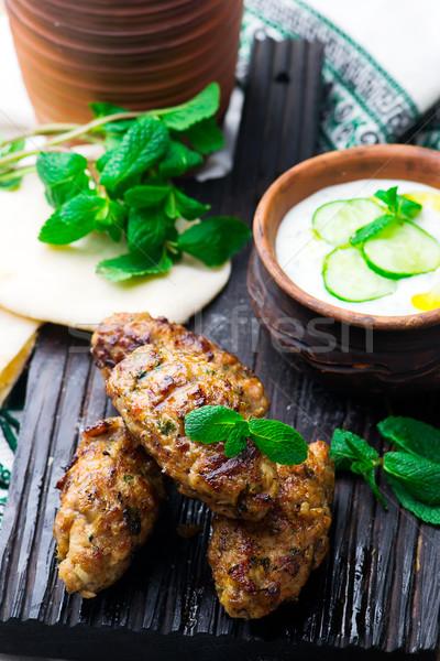 Chicken Kafta Kebabs with pita and tzatziki Stock photo © zoryanchik