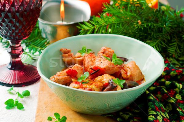Vadász stílus tyúk konyha vacsora hús Stock fotó © zoryanchik