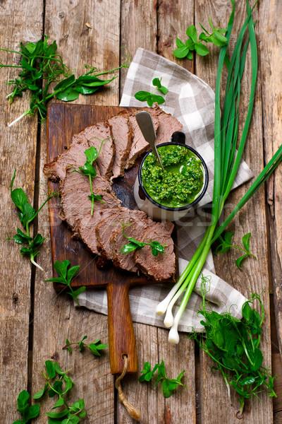 Roast beef and  pea shoot and mint pesto..style rustic. Stock photo © zoryanchik