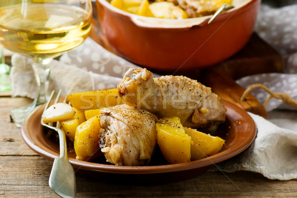 chicken drumstick with potato Stock photo © zoryanchik
