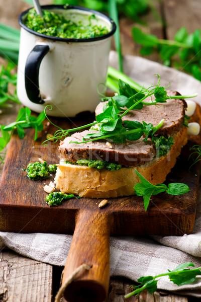 Nane pesto sığır eti sandviç stil gıda Stok fotoğraf © zoryanchik