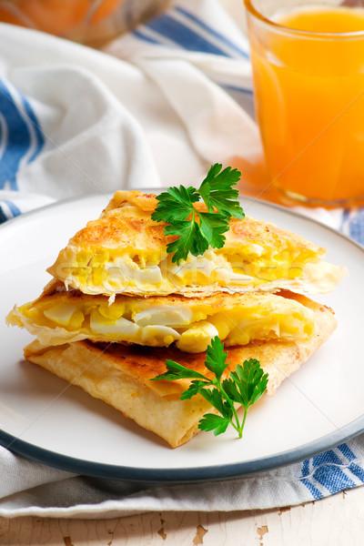 卵 チーズ 朝食 選択フォーカス パン 卵 ストックフォト © zoryanchik