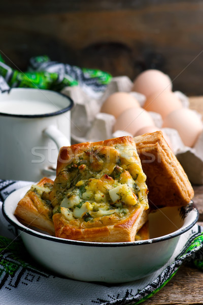 puff pastry pies with eggs and greens  Stock photo © zoryanchik