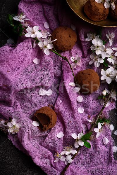 Pruim bloesem chocolade rustiek voedsel Stockfoto © zoryanchik