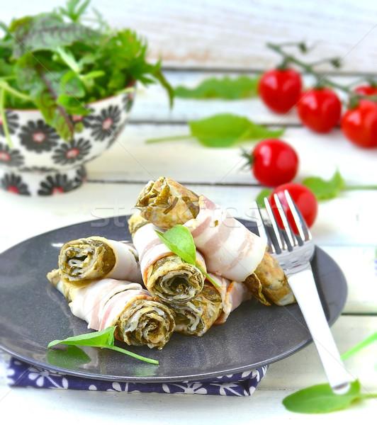 Сток-фото: бекон · завтрак · яйцо · белый · растительное
