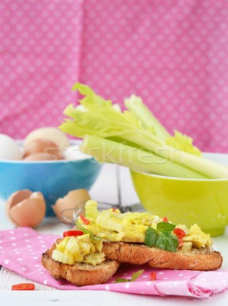 Bruschetta zeller tojások kenyér bors egészséges Stock fotó © zoryanchik