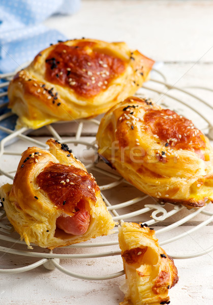 sausages in puff pastry for a breackfast  Stock photo © zoryanchik