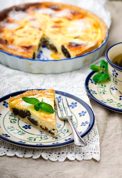 Fromage cottage gâteau mise au point sélective fruits fond été Photo stock © zoryanchik