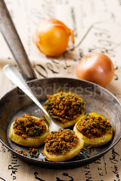 the baked onions with a grain crumb Stock photo © zoryanchik