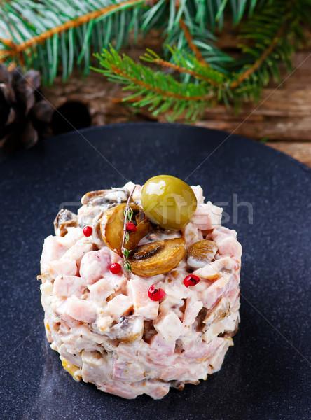 サラダ キノコ マヨネーズ 選択フォーカス 食品 表 ストックフォト © zoryanchik