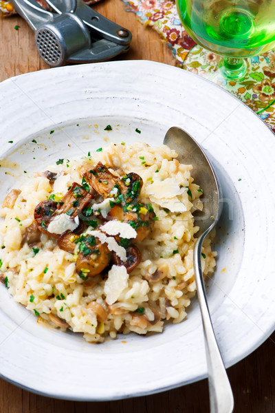risotto with mushrooms prepared in the microwave  Stock photo © zoryanchik