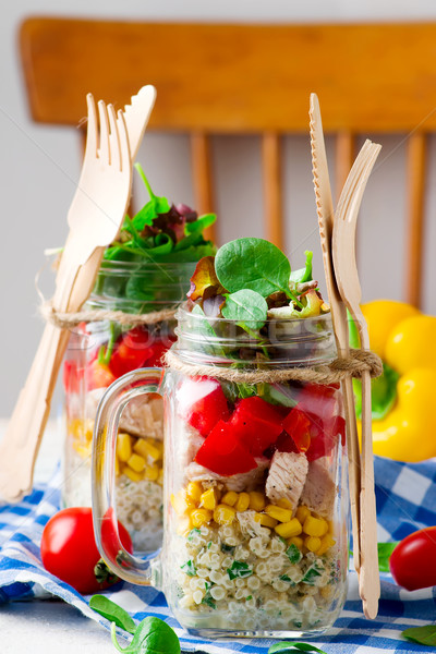 ranch chicken salad in a jar mason jar meals. Stock photo © zoryanchik