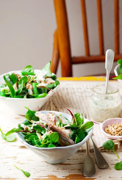 Verde affumicato sgombri insalata stile vintage Foto d'archivio © zoryanchik
