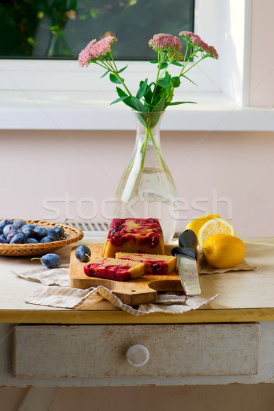 upside down plum and olive oil cake Stock photo © zoryanchik