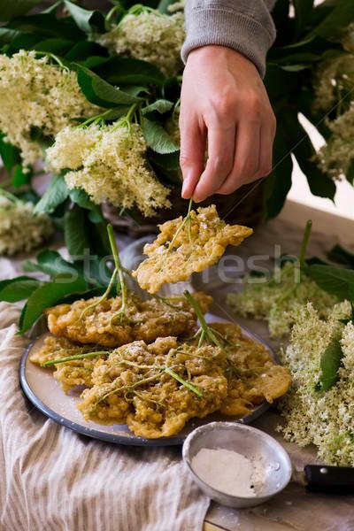 Virágok klasszikus virág tavasz tányér cukor Stock fotó © zoryanchik