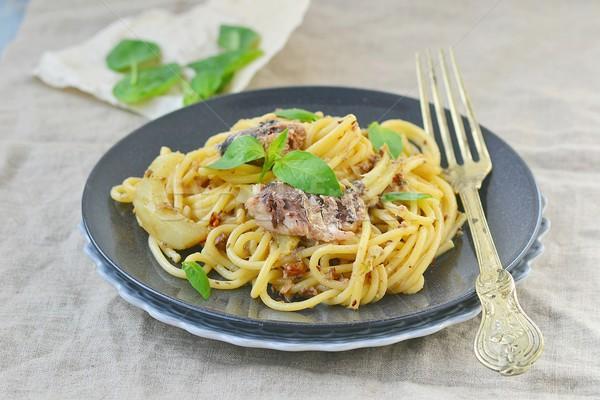 spaghetti with sardine sauce  Stock photo © zoryanchik