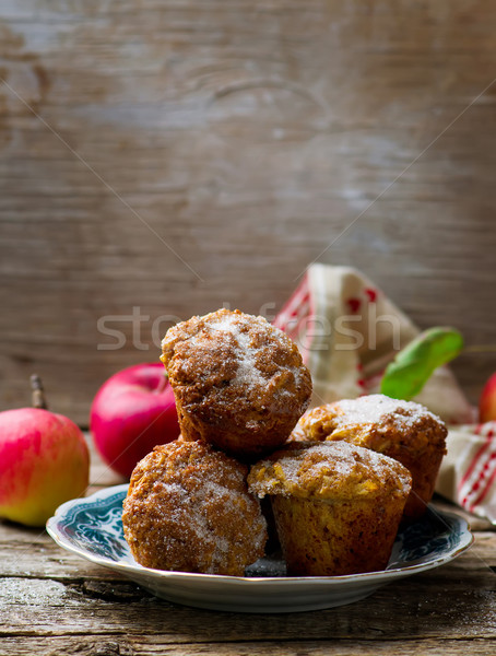 muffins with apples and oat flakes Stock photo © zoryanchik