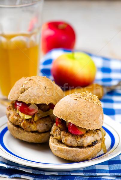 Hamburger disznóhús alma stílus klasszikus szelektív fókusz Stock fotó © zoryanchik