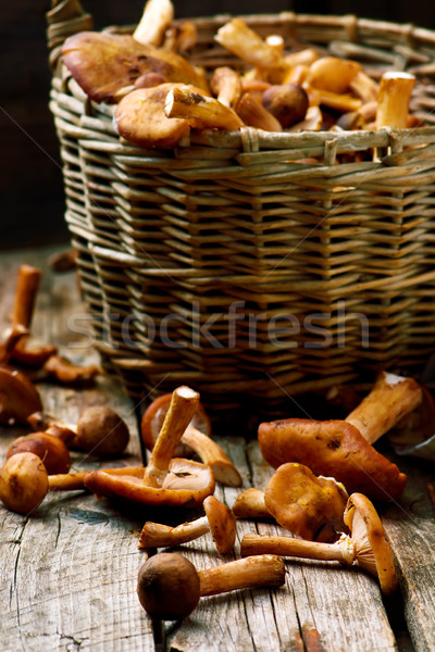 Honing paddestoel oude houten tafel stijl rustiek Stockfoto © zoryanchik