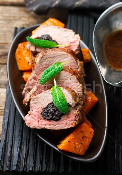 Varkensvlees focus diner lunch maaltijd specerijen Stockfoto © zoryanchik