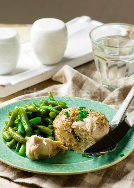 Chicken breast in microwave with vegetables Stock photo © zoryanchik