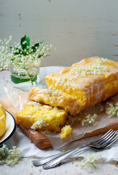 LEMON  and ELDERFLOWER DRIZZLE CAKE. Stock photo © zoryanchik
