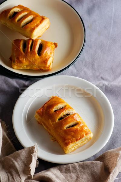 ミニ パイ 素朴な 食品 背景 プレート ストックフォト © zoryanchik