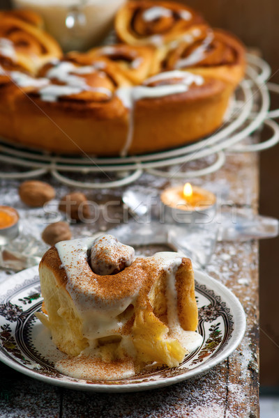 Egg Nog Cinnamon Rolls..style rustic .selective focus.  Stock photo © zoryanchik