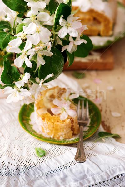 Cinnamon Apple Cake Roll with cream cheese Stock photo © zoryanchik