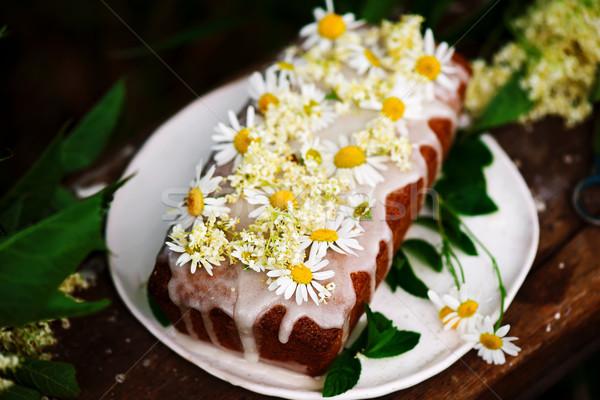 vegan elderflower honey lemon drizzle cake. Stock photo © zoryanchik