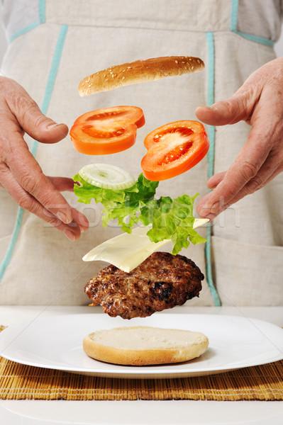 Stockfoto: Hamburger · handen · bouw · home · kunst