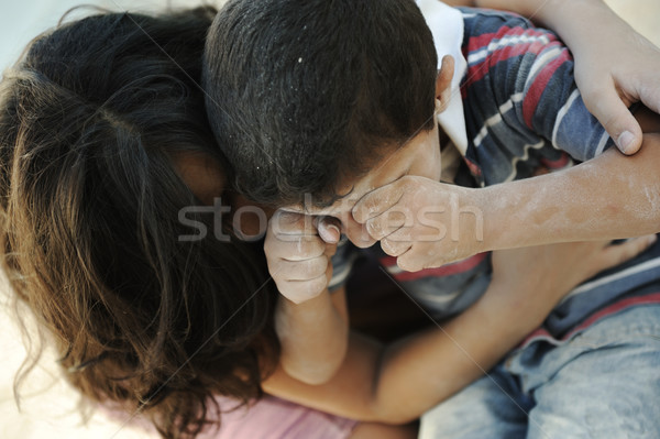 Little dirty brother and sister, poverty , bad condition Stock photo © zurijeta