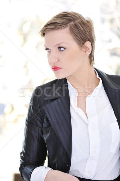 Сток-фото: деловой · женщины · короткие · волосы · женщину · служба · лице · костюм