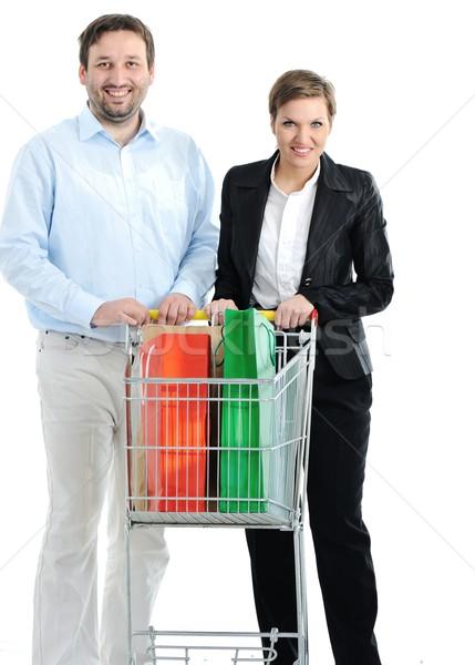 Photo stock: Couple · Shopping · ensemble · panier · fruits · jeunes