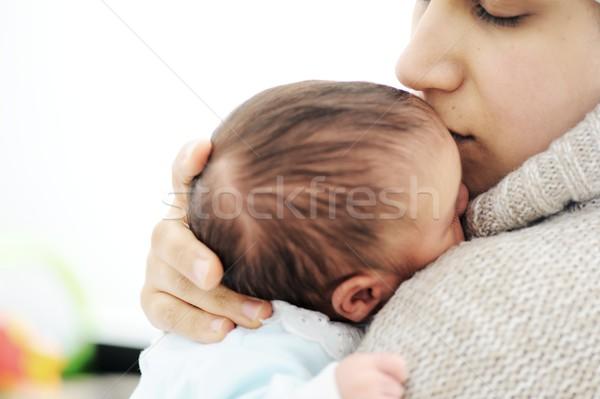 Pasgeboren baby glimlach liefde gelukkig kind Stockfoto © zurijeta