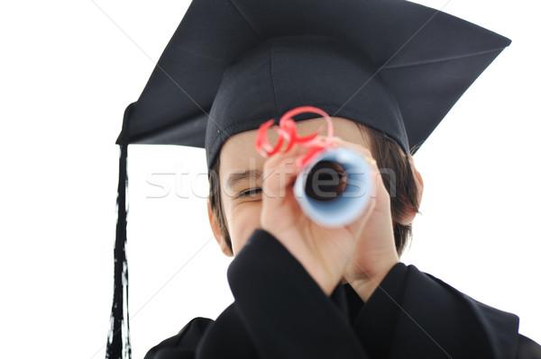 Diploma pequeno estudante criança bem sucedido escola primária Foto stock © zurijeta