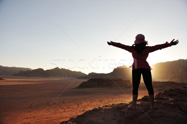 Stock photo: Freedom, girl, desert, sunset, beautiful scene