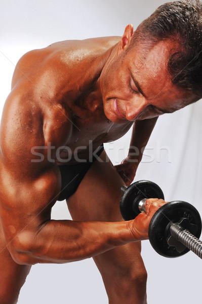 рабочих бицепс человека Sexy спорт тело Сток-фото © zurijeta
