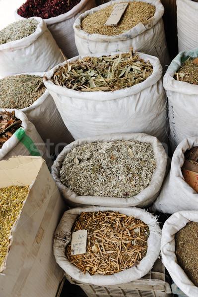 Spices and herbs at arabic market Stock photo © zurijeta