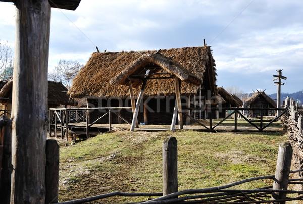 Oude authentiek dorp houten huizen stro Stockfoto © zurijeta