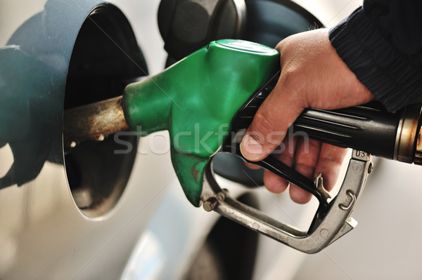Close-up image of a mens hand refilling the car with a gas pump Stock photo © zurijeta
