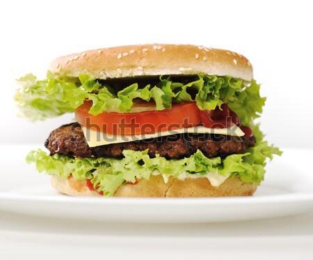 Foto stock: Cheeseburger · comida · fundo · carne · salada · sanduíche